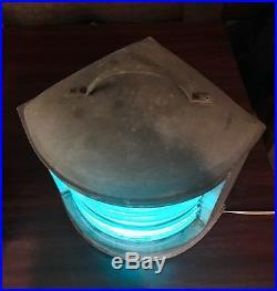VINTAGE BOAT SHIP NAUTICAL MARINE BLUE STARBOARD LIGHT PERKO PERKINS LAMP 15x15