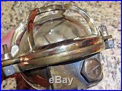 VINTAGE BRASS ENGINE ROOM/CEILING/WALL LIGHT 9 1/2 LONG (REWIRED) WithBRASS CAGE