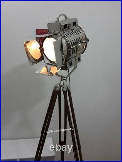 VINTAGE Big Nautical Searchlight Floor Lamp Theater Spot Light Wooden Tripod