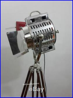 VINTAGE Nautical Searchlight Floor Lamp Home Decore Spot Light Wooden Tripod