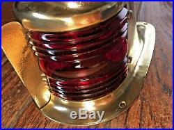 VINTAGE PERKO BRASS BOW LIGHT WithFLAG SOCKET RED/GREEN GLASS LENS NEW LED WIRING