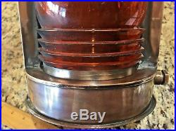 VINTAGE PERKO POLISHED BRONZE/BRASS LIGHT WithAMBER LENS 13 TALL 9 1/2 WIDE