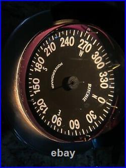 VINTAGE RITCHIE 5 GLOBEMASTER BINNACLE MOUNT SP-5 COMPASS WithLIGHT & S. S. CASE