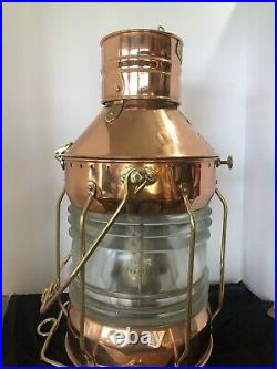 VINTAGE SEAHORSE NAUTICAL LANTERN Maritime Ship Copper Brass MASTHEAD Light Lamp