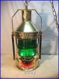 VINTAGE STROHS Rotating Bar Light Hanging Lantern Nautical Beer Sign
