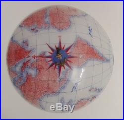 VNTG Mid Century Nautical Glass Globe Earth Map Ceiling Light Shade Cover 15