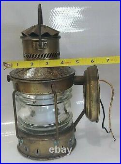 VTG LARGE Nautical ANCHOR Brass Copper Glass Ship Lantern Light Lamp Merman