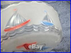 VTG NAUTICAL Sailboats Red White & Blue Glass 3 Hole Chain Ceiling Light Cover