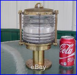Vintage 10 Inch Ship's Piling Light With Frenel Lens