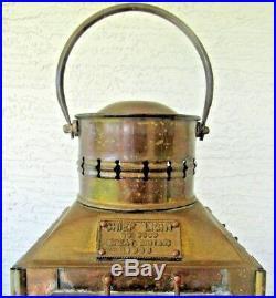 Vintage 1935 Brass Chief Light Railroad Great Britain Lantern Oil Lamp Ship 3509