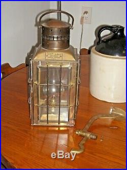 Vintage 1935 Brass Chief Light Ship Lantern Oil Lamp No. 3509 with Wall Bracket