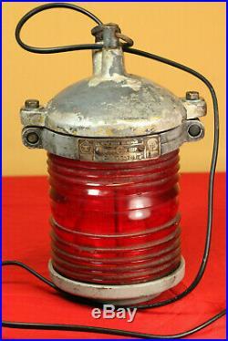 Vintage 1977 Soviet Russian Aluminum SHIP BOAT LANTERN LAMP Red light Fresnel