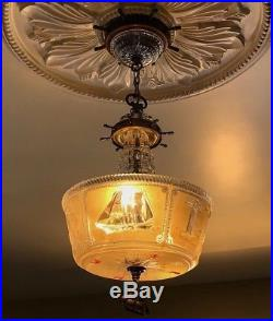 Vintage 3 Light NAUTICAL Chandelier Lighthouse Sail Boats Original Aged Brass