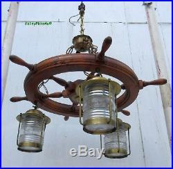Vintage 40s ships wheel brass nautical lantern chandelier ceiling vintage 40s ships wheel brass nautical lantern chandelier ceiling light fixture mozeypictures Gallery
