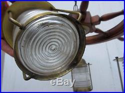 Vintage 40s Ships Wheel Brass Nautical Lantern Chandelier Ceiling Light Fixture