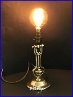 Vintage Antique Brass Ships Gimbal Light Ward Room Lamp Navy Playmit Pat. AP9009