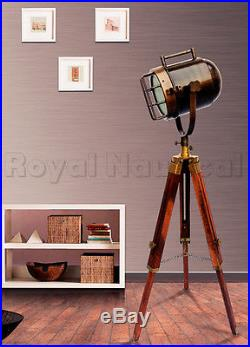 Vintage Antique Finish Shaded Wooden Tripod Spot Light Lighting Floor Lamp Decor