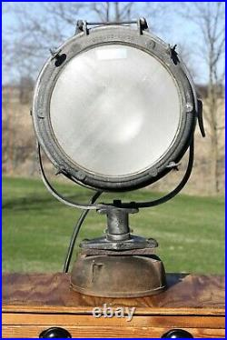 Vintage Antique Military Ship Light Nautical INDUSTRIAL BOAT SPOTLIGHT Search