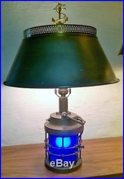 Vintage \ Antique Nautical Marine Military Piling Light Blue Lens Table Lamp