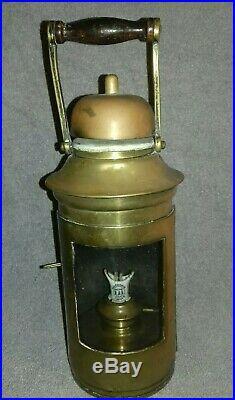 Vintage Antique Ship Brass Binnacle Oil Lamp Light Sherwoods Birmingham Nautical