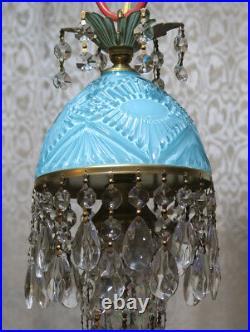Vintage Aqua Blue Whimsical Nautical cut Glass Crystal Brass Hanging Swag plugin