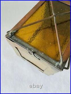 Vintage Arts Crafts Copper Globe Hanging Light Fixture Amber Glass Nautical