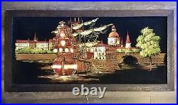 Vintage Ashbrook Lighted Velvet Painting Spanish Ship Spain Port Kitsch Art