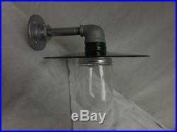 Vintage Barn Light Industrial Look Jelly Jar Garden light Nautical 10 GREEN
