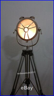 Vintage Big Nautical Spotlight Floor Lamp Theater Search Light & Steel Tripod