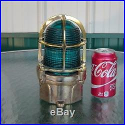 Vintage Blue Teal Nautical Polished Brass Ceiling Light Helicopter Pad Light
