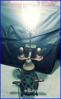 Vintage Boat Ship Lamp Light Nautical Marine Brass Ship Wheel Bell Unique Works