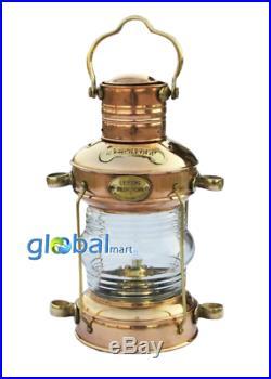 Vintage Brass Antique Ship Lamp Nautical Anchor Lantern Oil Burner Boat Light