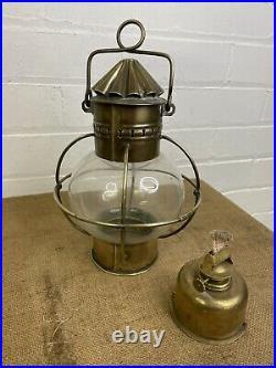 Vintage Brass British Ships Hanging Onion Oil Lamp Light Maritime Nautical