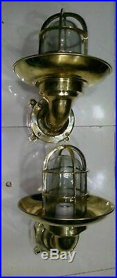 Vintage Brass Bulkhead Light with Brass Shade Junction Box Restored and Rewired