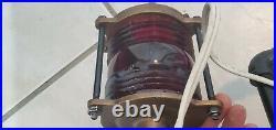 Vintage Brass Channel Marker Lamp Light Great Condition -heavy Glass Globe