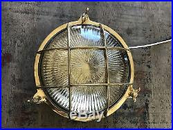 Vintage Brass Circular Bulkhead Etched Glass Salvaged Light Restored & Rewired