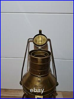 Vintage Brass & Copper Anchor Oil Lamp Maritime Ship Lantern Boat Light 13.5