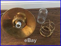 Vintage Brass Hanging Bulkhead Light With Brass Shade- Restored & Rewired