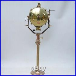 Vintage Brass Industrial Search Light Mounted On A Machine Gun Stand