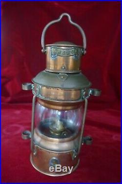 Vintage Brass Nautical ANCHOR Copper Ships Lantern Lamp Light 12 Wedge Burner