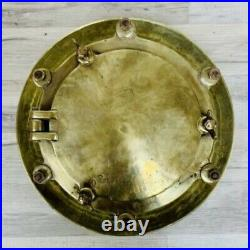 Vintage Brass Nautical Ceiling Light With Fresnel Lens And Rain Cap