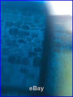 Vintage Brass Nautical Marine Ship Passage Way Bulkhead Light With Blue Glass