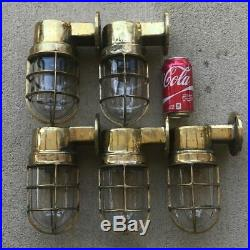 Vintage Brass Nautical Passageway Ship Lights Set Of 5