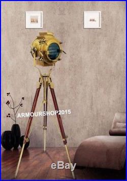 Vintage Brass Nautical Searchlight Floor Lamp Spotlight Wooden ...