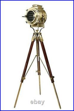 Vintage Brass Nautical Searchlight Floor Lamp Spotlight Wooden Tripod Light