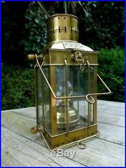 Vintage Brass Oil Lamp 1939 no. 3954 Cargo Light Nautical Marine Loft Home Pub