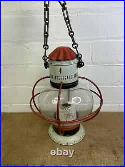 Vintage Brass Robb Moore Glasgow Ships Hanging Onion Oil Lamp Maritime Light