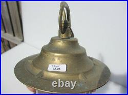 Vintage Brass Ship Lantern Light Caged Bulkhead Industrial Boat Maritime LIDO