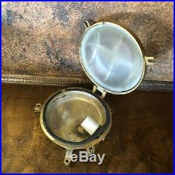 Vintage Brass Ships Deck Bulkhead Light Marine Nautical Boat Porthole Fixture