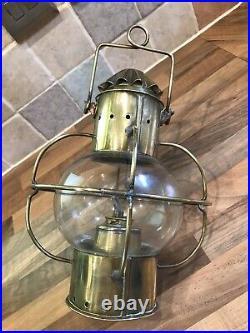Vintage Brass Ships Hanging Onion Lamp Light Maritime Marine